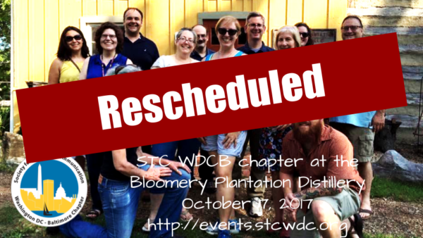 Pnoto of 2016 tour group with Rescheduled banner