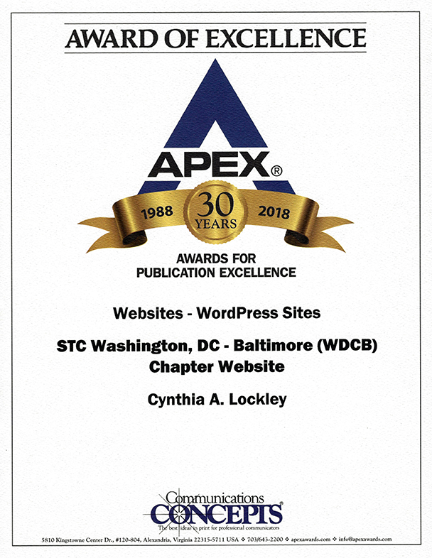 APEX Award certificate 2018 for Publication Excellence