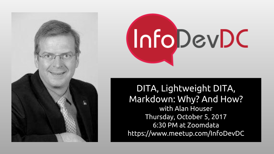 Promo with photo of Anal Houser, the InfoDevDC logo, and information about the presentation.