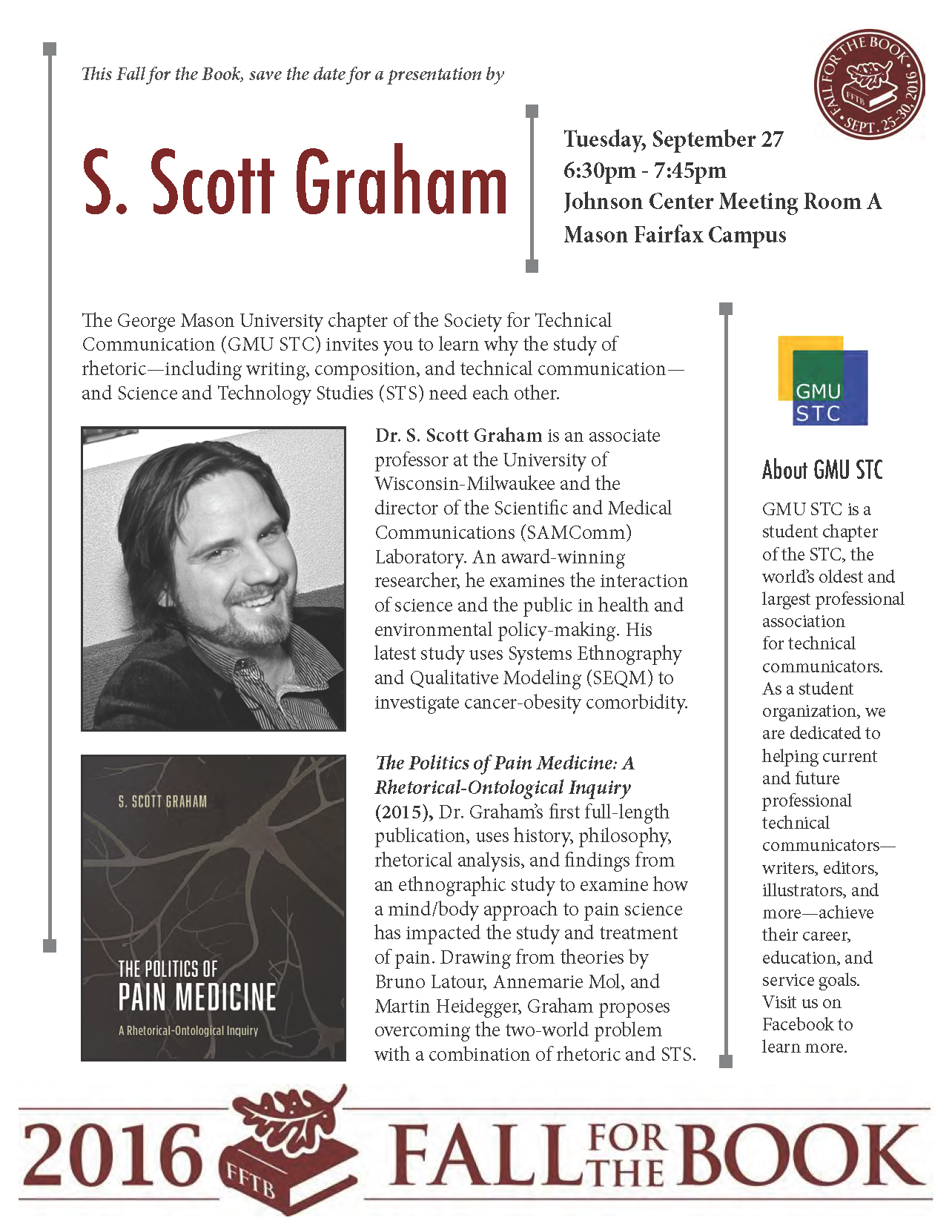 Image of the flyer PDF about Fall for the Book presentation.