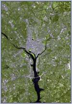 Landsat image of Washington, DC. Credit: NASA Goddard Space Flight Center.