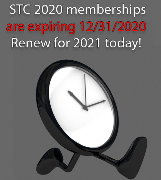 Time is running out to renew your STC membership for 2021